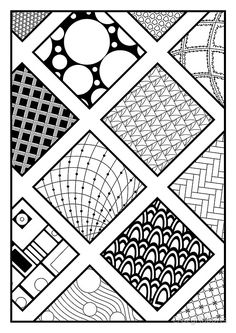 'Zentangle, wall art, squares, pattern' Photographic Print by CrazyRabbits – Doodles Easy Patterns To Draw, Doodle Patterns, Zentangle Patterns, Zentangle Drawings, Doodles Zentangles, Pattern Drawing, Pattern Art, Pattern Ideas, Engagement Mehndi Designs