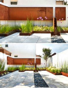 9 Ideas For Including Weathering Steel Planters In Your Garden // Short built-in weathered steel planters around the perimeter of this patio add color and texture to the space with the grassy plants keeping things soft and welcoming. Front Yard Design, Small Backyard Design, Small Backyard Landscaping, Modern Landscaping, Backyard Ideas, Urban Garden Design, Landscape Architecture, Landscape Design, Terraced Landscaping