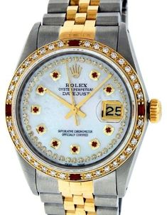 Rolex Datejust Yellow Gold Diamond, Ruby, Mother Of Pearl, Sapphire Mens Watch Dial Size 36mm