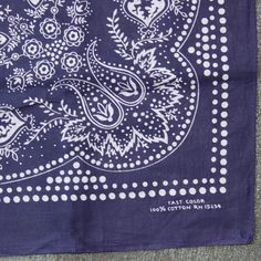 Vintage 60s FAST COLOR Polka Dot Paisley Blue by ToughLuckVintage #vintage #bandana #vintagebandana #blue #fastcolor #60s #vintagebandana #workwear