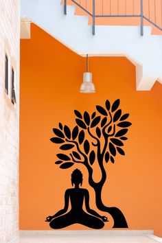 Simple Wall Paintings for Living Room Lovely Details About Wall Stickers Vinyl Decal Buddha Buddhism Tree wall painting ideas living rooms Buddha Wall Painting, Budha Painting, Wall Painting Living Room, Buddha Wall Art, Wall Painting Decor, Diy Wall Art, Creative Wall Painting, Wall Art Designs, Wall Design