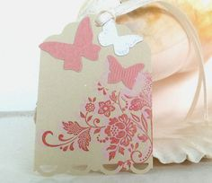 Pink Butterfly Tags Vintage Wedding Tags Thank You by natashaaloha, $6.99