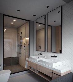 Elegant and Simple Bathroom Storage Ideas in The Next 2019 Innovative bathroom storage ideas for DIY bathroom storage ideas # laundryhomeıdeas the Small Space Bathroom, Modern Bathroom Design, Simple Bathroom, Bathroom Interior Design, Small Spaces, Bathroom Ideas, Shower Bathroom, Bathroom Grey, Modern Design
