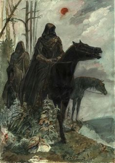 """Alan Lee - """"They were once Men. Great Kings of Men. Then Sauron the Deciever gave them Nine Rings of Power. Blinded by their greed, they took them without question, one by one, falling into darkness. And now they are slaves to his will. They are the Nazgûl, Ringwraiths, neither living nor dead..."""""""