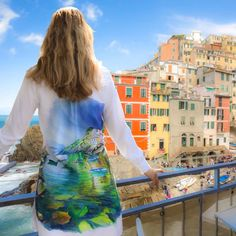 Original Hand Painted blouse Italy Riomaggiore sea view | Etsy Riomaggiore, Painted Clothes, Most Beautiful Cities, Great Artists, Tie Dye Skirt, Italy, Hand Painted, Clothes For Women, Portrait