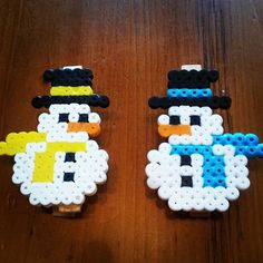 Snowmen hama beads by  maryadiana