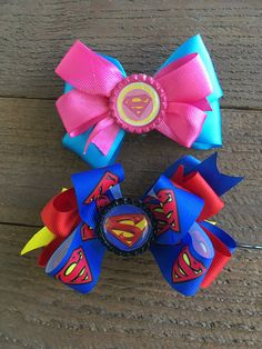 Supegirl hair accessories, Superhero hair accessories, Birthday hair accessories, School hair bow accessories, Birthday gifts A little girls would love to have. They can wear to school, Birthday Parties etc.. Makes a great gift for family and friends. Also makes a great costume hair accessory. I make with E6000 and hot glue sticks combined for extra adhesion and bowstiffner, Nylon threads and I let cure for 24 hours for my bows to completely dry and take their shape. I also use bottlecap…