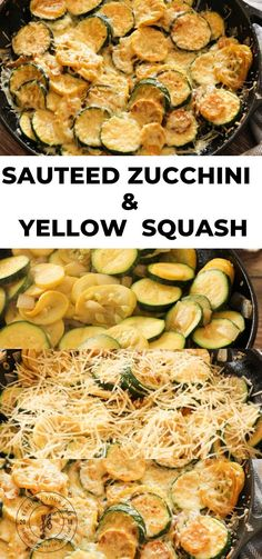 This simple Sauteed Zucchini and Yellow Squash Recipe is a perfect side dish year round. Loaded with zucchini, yellow squash, onions, garlic and topped with parmesan cheese! Yellow Zucchini Recipes, Sauteed Zucchini Recipes, Sauteed Zucchini And Squash, Zucchini Side Dishes, Green Zucchini, Summer Squash Recipes, Healthy Vegetable Recipes, Healthy Eating Recipes, Vegetable Side Dishes