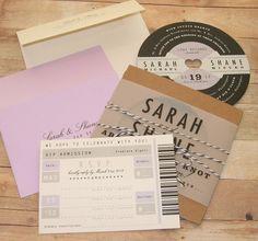 Music Lovers - Retro Record Wedding Invitation