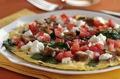 Open-Faced Feta Omelet: I like... roma tomatoes feta cheese mozerella cheese chicken sausage spinich/basil