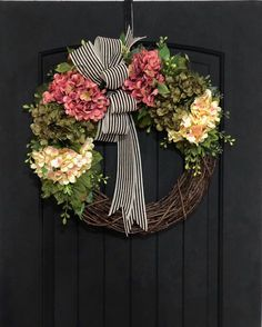 Front Door Wreaths Spring Wreath Hydrangea Wreaths Grapevine Wreath Country Shabby Chic Home Decor Housewarming Gifts For Her Diy Wreath, Grapevine Wreath, Wreath Ideas, Tulle Wreath, Homemade Door Wreaths, Spring Front Door Wreaths, Spring Wreaths, Winter Wreaths, Holiday Wreaths
