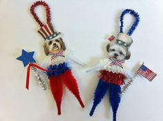 Uncle Sam * Patriotic Puppy Chenille Ornament * Vintage Style Chenille Stem Pipe Cleaner * DIY Craft Inspiration