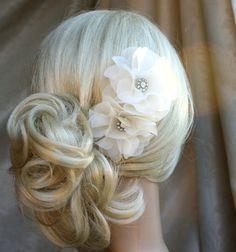 Silk organza flowers hair clip for wedding reception bridal party  wedding hair piece - 2 ivory peonies - on sale. $78.00, via Etsy.