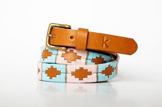 Polo belts from Argentina - Embroidered leather - Celeste