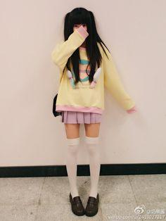 kawaii sweater pastel Asian fashion pop kei Japanese Fashion Harajuku street fashion pale Babydoll fairy kei Tokyo Fashion thigh highs dolly kei milklim asian girl dolly japan fashion white thigh highs