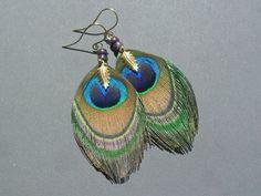 Boucles d'oreille plume de paon