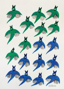 Birds 9 traditional art by Choti Gond Artist | ArtZolo.com