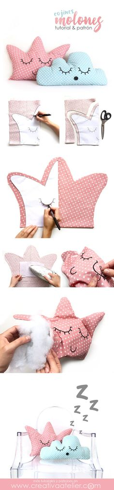 Cojines decorativos DIY - Cojín corona y cojín nube - Tutorial y patrones gratuitos Sewing For Kids, Baby Sewing, Diy For Kids, Cute Pillows, Diy Pillows, Pillow Ideas, Funny Pillows, Accent Pillows, Sewing Crafts