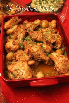 Poulet rôti et pommes de terre au four , Recette de samira tv