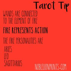 """Learn the characteristics of the Wands in tarot by Noble Lion Prints. ( Wands also connect to inspiration, passion - """"what drives you"""" - and sexuality. )"""
