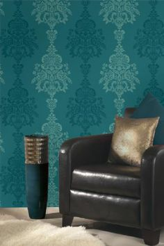 1000 images about teal wallpaper on pinterest teal for Teal wallpaper living room