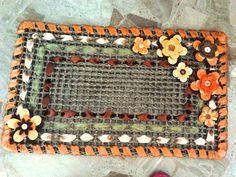 Zerbino con fiori crochet e feltro e nastri in raso - Welcome carpet with crochet and felt flowers and silk ribbon