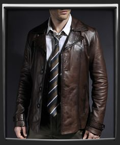 SoulRevolver.com Heist      Fitted hip length leather jacket.     100% brown Italian nappa leather.     Luxury brown lining.     Two interior pockets.     Brown buttons.     Vintage inspired collar design.     Button cuff & strap detail on sleeve.     Also available in Black.  £279.17$423.00