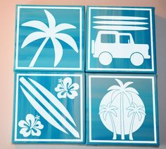 """""""Beach Blocks"""" vinyl lettering wall decal canvas art surf board, jeep, hibiscus, and palm tree decals. See more decals at www.lacybella.com"""