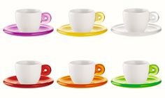 Guzzini Guzzini Set 6 Coffee Cups With Saucer Drops Assorted @ http://coffeecups.parcelfromhome.com/ £35.00