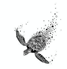 Ocean Theme Tattoos, Animal Drawings, Art Drawings, Turtle Sketch, Turtle Tattoo Designs, Sea Turtle Art, Stippling Art, Surfboard Art, Desenho Tattoo