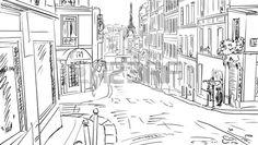 Street in paris -sketch illustration photo