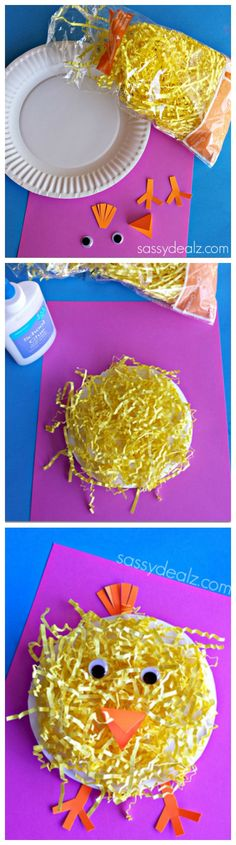 Paper Plate Chick Craft for Kids! #Easter Craft | http://www.sassydealz.com/2014/04/paper-plate-chick-craft-using-easter-grass.html