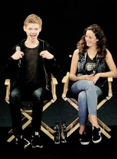 The Maze Runner Cast! Thomas Brodie-Sangster and Kaya Scodelario...<<<< idk wht he is doing but it is adorable<3