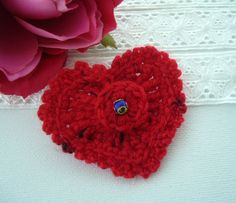 Hand Crochet Red Cashmere Corsage Brooch by CraftsbySigita on Etsy,  www.etsy.com/shop/CraftsbySigita