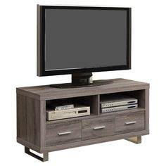 Monarch Specialties - TV Stand With Dark Taupe - Entertainment Centers and Tv Stands Corner Tv Stands, Cool Tv Stands, Contemporary Entertainment Center, Entertainment Centers, Entertainment System, Tv Stand With Storage, Family Room Decorating, Dcor Design, Design Ideas