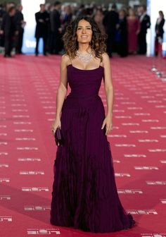 Salma Hayek wore this richly textured plum gown to the Goya Awards by Gucci Premiere