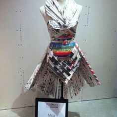 Recycled newspaper dress.