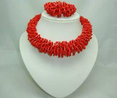 Venice Orange Beads Necklace   Stunning Chunky Reddish Orange Glass Seed Bead Necklace + Bracelet Set