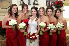 red and white wedding bouquets at Eagle Ridge, lakewood NJ