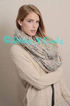 Chunky teal cream and glitter comfy scarf $24.95