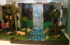 This is a fourth-grade biome project that represents a rainforest. Love the waterfall!