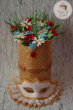 Carnival Cakers Collaboration - Cake by RusuPaula Wedding Cake Inspiration, Daily Inspiration, Burlesque Cake, Masquerade Cakes, Crazy Cakes, Flower Cakes, Cake Icing, Pretty Cakes, Cake Art