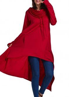 Asymmetric Hem Red Long Pullover Hoodie on sale at Rosewe.com