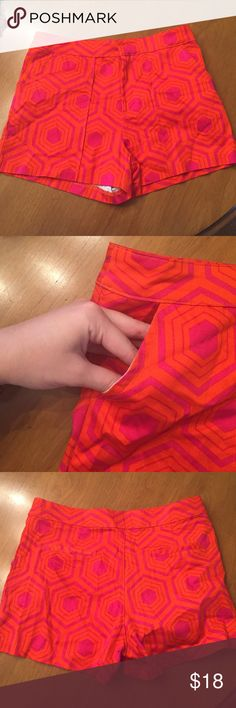Patterned shorts Pink/orange patterned shorts. Bought from Francesca's. Never worn. Francesca's Collections Shorts