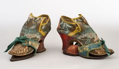 Shoes with pattens, 1690–1710. Leather, silk and linen.Collection of Shelburne Museum