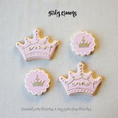 Pink and Gold Princess Crown Sugar Cookies  24 pcs or by LHEBakes