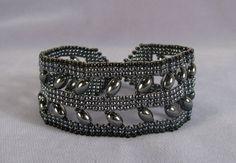 Hematite Cuff Bracelet Gunmetal Black Beaded by GinaLibrizzi - my cousin's amazing jewelry