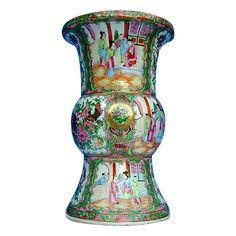 "Large Chinese Export Vase, Rose Mandarin,  ""Gold in Hair"", Antique 19th C"