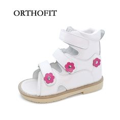 9872ae6996 Flower Decoration Simple Lovely Children Genuine Leather Flat Foot Shoes  Anti-virus Shoes Kids Orthopedic Sandals For Girls