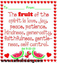 Fruit of the Spirit Valentine; pair with fruit candy like Runts